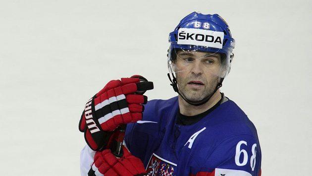 Český reprezentant Jaromír Jágr po prohraném utkání o bronzovou medaili se Švédy.