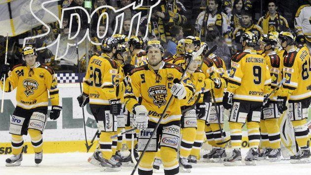 Hokejisté Litvínova se radují z vítězství (ilustrační foto).