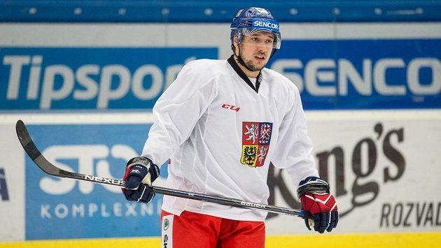 Jan Kovář během tréninku hokejové reprezentace před zápasy turnaje Karjala Cup.