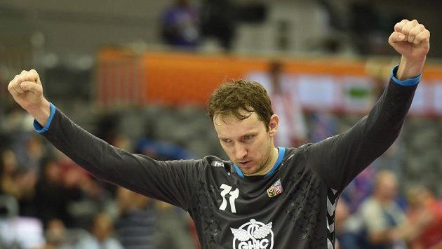 Brankář Petr Štochl v dresu reprezentace.