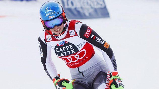 Slovenská lyžařka Petra Vlhová po slalomu Světového poháru v Lenzerheide.