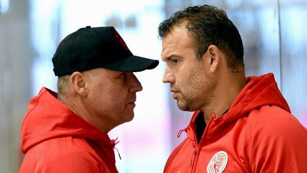 Hokejová Slavia mění trenéry, u týmu končí Martin Štrba (vpravo) a Jiří Doležal.
