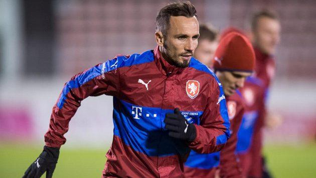 Tomáš Sivok během tréninku fotbalové reprezentace.