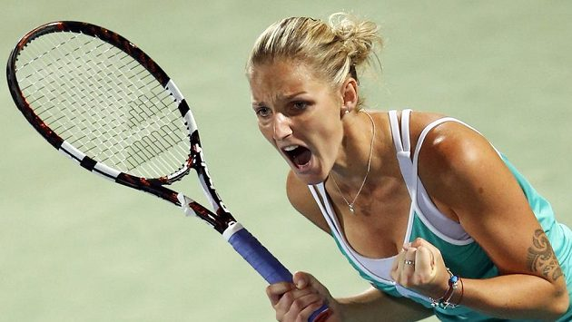Česká tenistka Karolína Plíšková na turnaji v Dubaji.