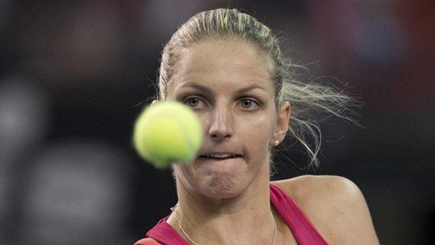 Česká tenistka Karolína Plíšková při své fedcupové premiéře proti Kanadě.