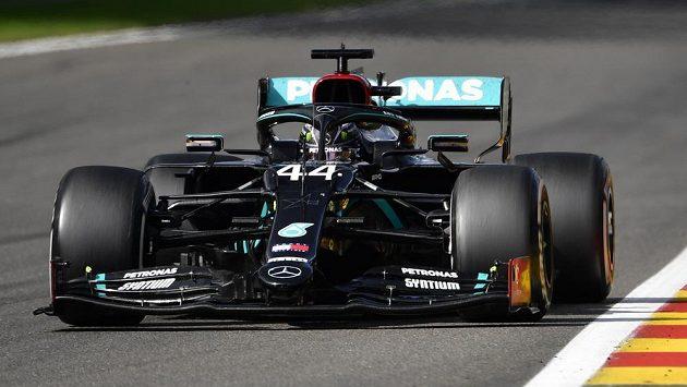 Lewis Hamilton při Velké ceně Belgie.