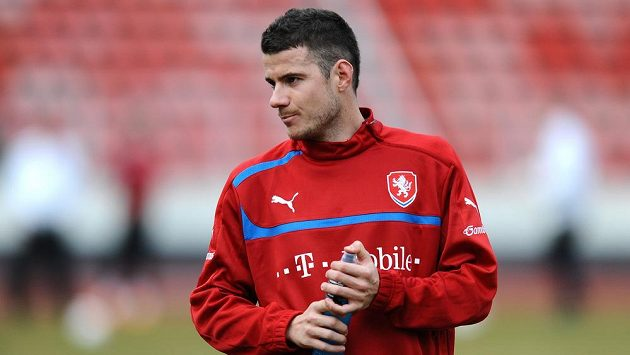 Daniel Pudil během tréninku české fotbalové reprezentace před utkáním s Norskem.