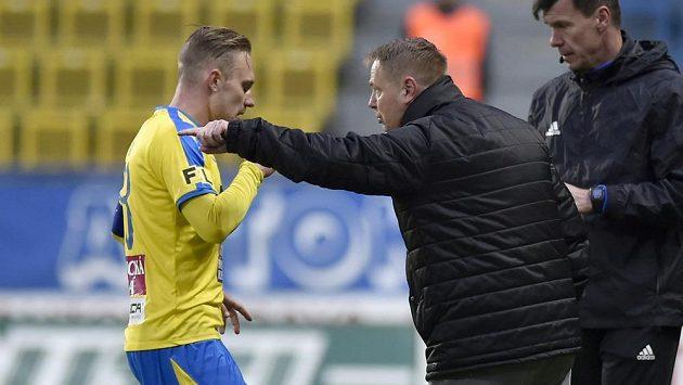 Zleva Jakub Hora z Teplic a trenér Stanislav Hejkal.