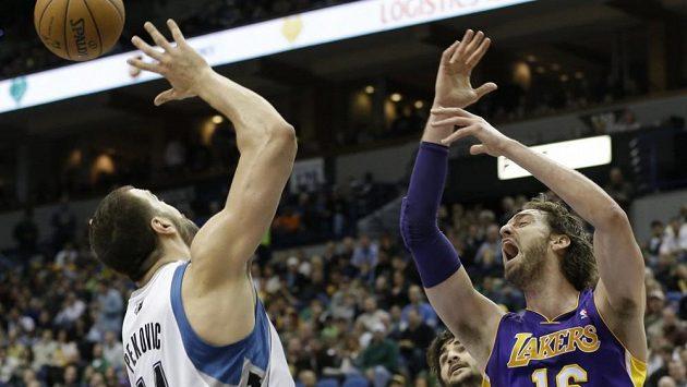 Velký podíl na výhře Lakers měl s 23 body a 10 doskoky Pau Gasol (vpravo).