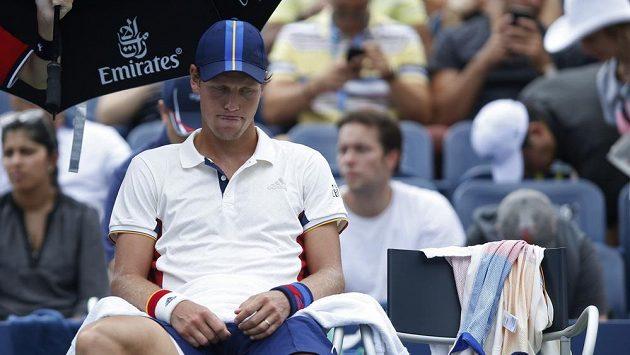 Zklamaný Tomáš Berdych ve druhém kole US Open.