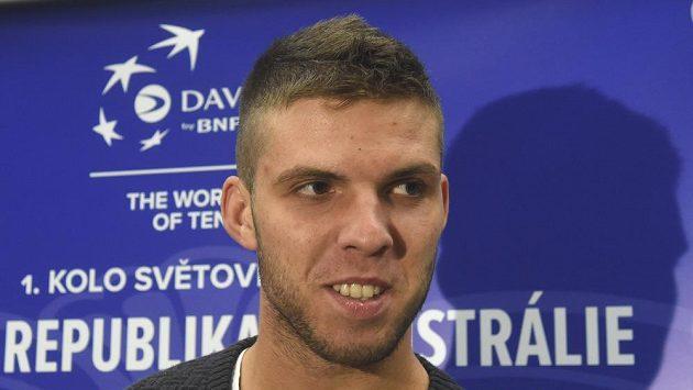 Jiří Veselý před utkáním 1. kola světové skupiny Davisova poháru proti Austrálii.