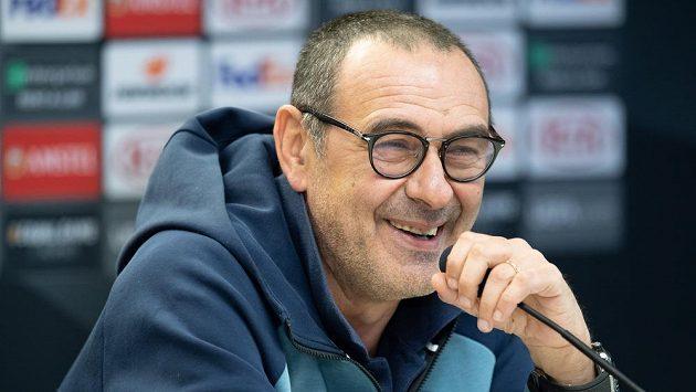 Trenér Chelsea Maurizio Sarri během tiskové konference před utkáním čtvrtfinále Evropské ligy na Slavii v Praze.