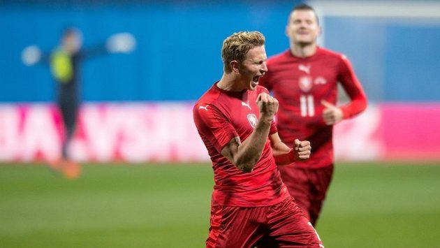 Radost Antonína Baráka po gólu do dánské sítě.