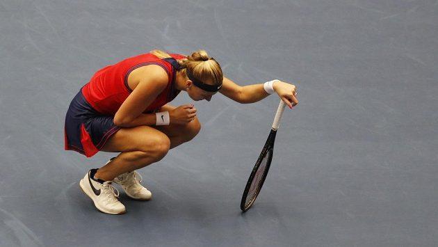 Česká tenistka Petra Kvitová během utkání Ostrava Open, ve kterém nastoupila proti Estonce Kontaveitové.