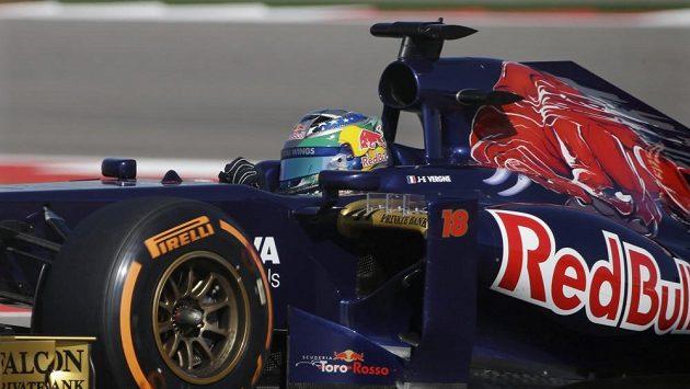 Francouzský jezdec Jean-Eric Vergne při GP USA v Austinu.