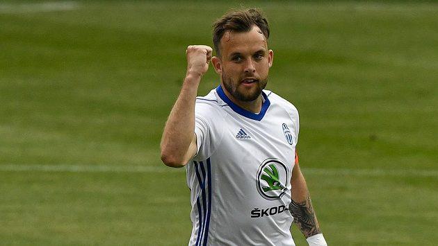 Lukáš Budínský z Boleslavi se raduje z gólu.