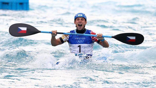 Zlato! Jiří Prskavec se raduje z olympijského triumfu.