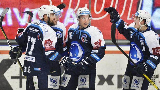 Radost plzeňských hokejistů v zápase s Libercem.