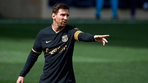 Barcelonský Lionel Messi v zápase s Villarrealem.