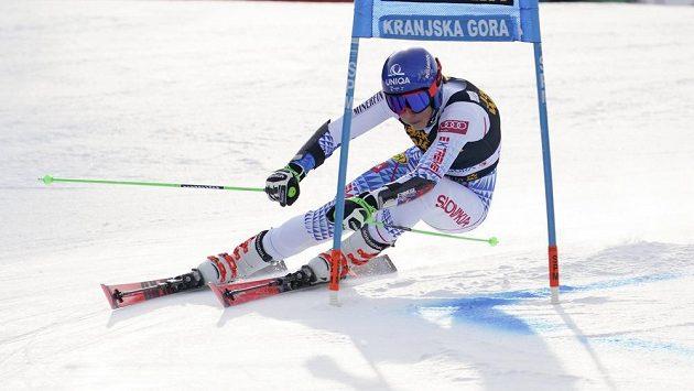 Slovenka Petra Vlhová na trati v Kranjské Goře.