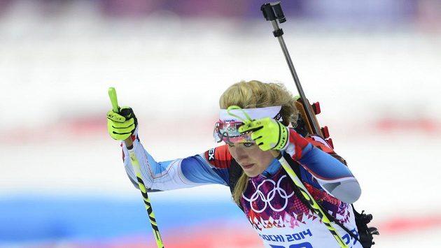 Česká biatlonistka Gabriela Soukalová v Soči.