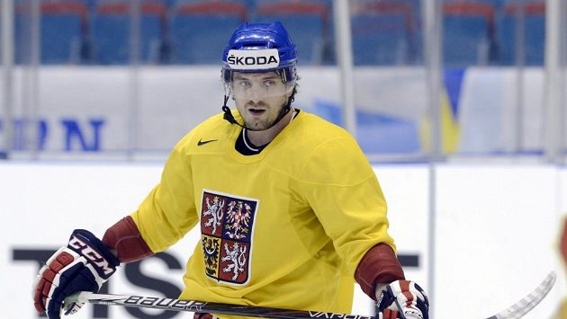 Útočník Petr Koukal na tréninku hokejové reprezentace v dějišti mistrovství světa.