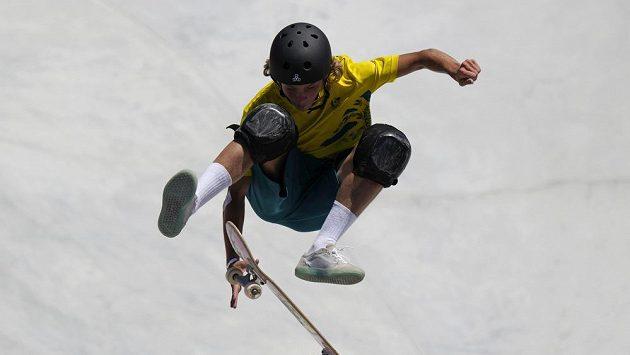 Australský skateboardista Keegan Palmer v disciplíně park na OH v Tokiu.