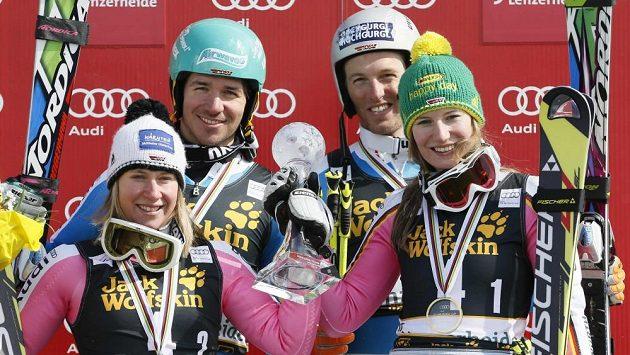 Zleva Veronique Hroneková, Felix Neureuther, Fritz Dopfer a Lena Dürrová.