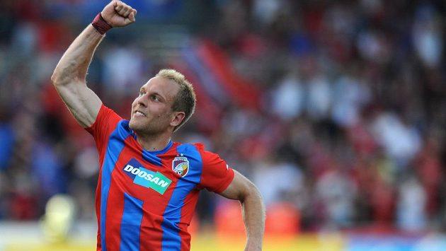 Plzeňský záložník Daniel Kolář oslavuje druhý gól během 2.předkola Ligy mistrů proti Željezničaru Sarajevo.