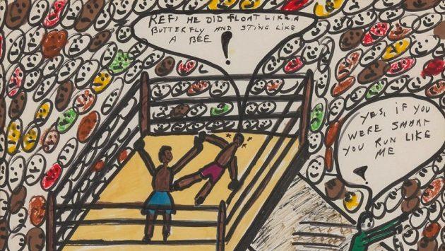 Umělecké dílo boxera Muhammada Aliho, zobrazuje jeho legendární výhru nad Sonnym Listonem.