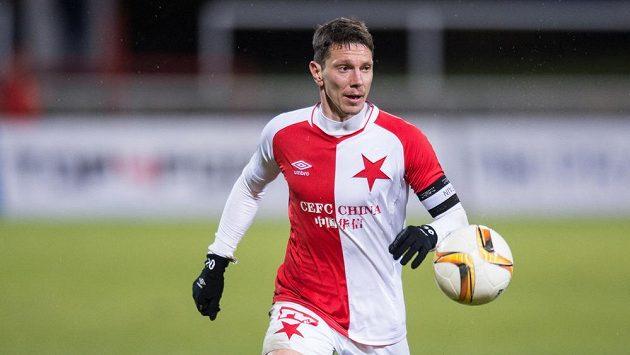 Jiří Bílek ze Slavie během zápasu s Duklou.