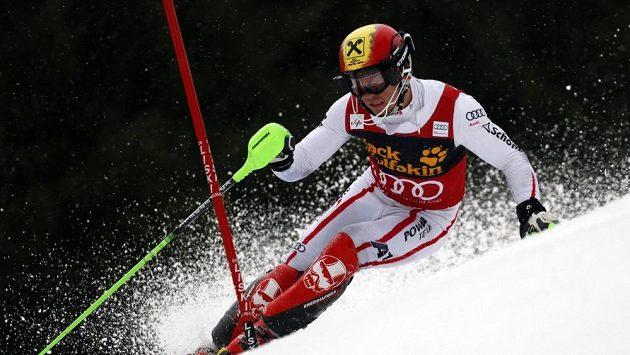 Rakouský lyžař Marcel Hirscher při slalomu v Kranjské Goře.