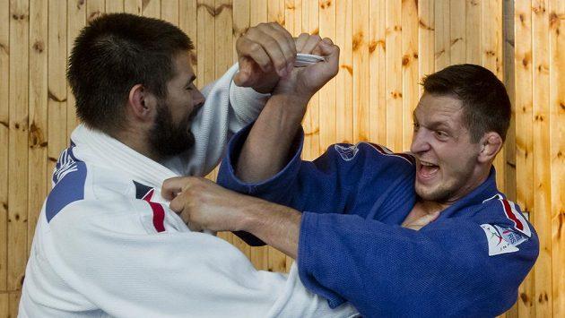 Český judista Lukáš Krpálek (vpravo) se v pražské sportovní hale Folimanka připravoval na mistrovství světa v Riu de Janeiru.
