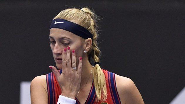 Česká tenistka Petra Kvitová během semifinále ostravského turnaje, ve kterém hrála proti Estonce Anett Kontaveitové.