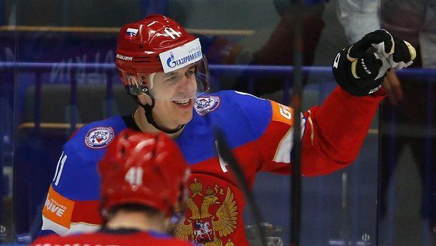 Jevgenij Malkin se raduje z branky, kterou vstřelil ve čtvrtfinále MS do švédské sítě.