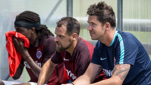 Nový člen realizačního týmu Sparty David Holoubek (vpravo), Marek Matějovský a obránce Costa (vlevo).