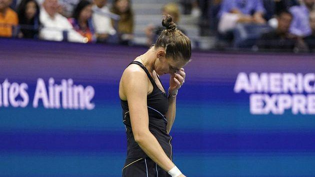 Česká tenistka Karolína Plíšková během zápasu čtvrtfinále US Open.