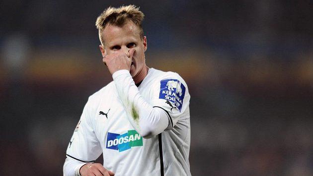 Plzeňský obránce David Limberský během utkání se Spartou.