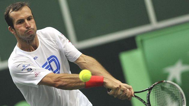 Tenista Radek Štěpánek trénuje před zápasem Davisova poháru proti Nizozemsku.