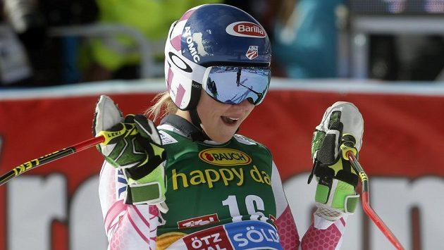 Američanka Mikaela Shiffrinová z loňských závodů v Söldenu.