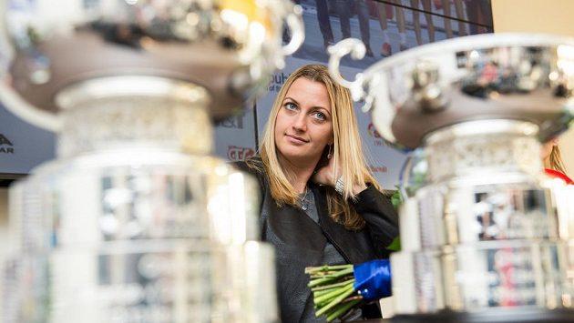 Česká tenistka Petra Kvitová během tiskové konference po návratu z francouzského Štrasburku.