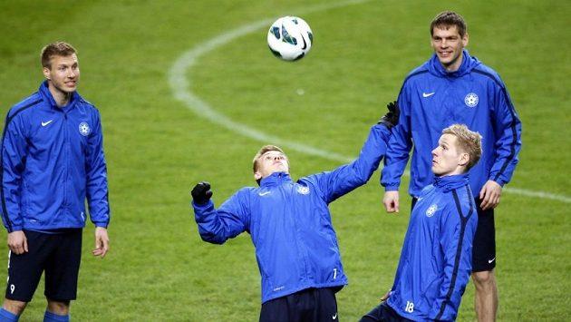 Trénink estonských fotbalistů před utkáním v Nizozemsku.