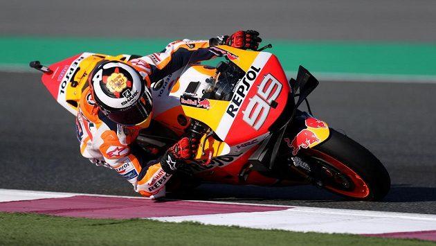 Jorge Lorenzo s hondou v kategorii MotoGP na trati v Kataru.