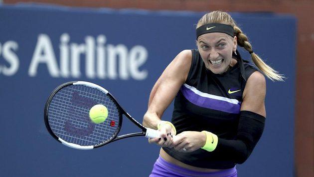 Petra Kvitová při utkání s Denisou Allertovou na US Open.