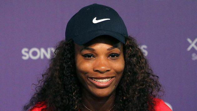 Serena Williamsová na tiskovce v Miami.