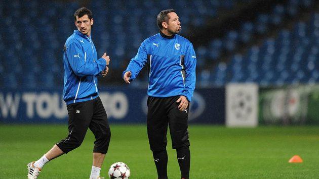 Hráči Viktorie Plzeň Marian Čišovský (vlevo) a Pavel Horváth na tréninku.