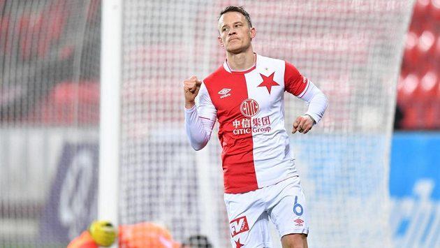Fotbalista Slavia Jan Sýkora vstřelil vedoucí branku Pražanů v utkání 4. kola MOL Cupu s Chrudimí.