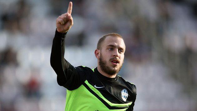 Jiří Skalák z Mladé Boleslavi oslavuje gól.