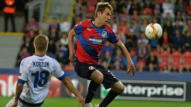 Tomáš Hořava z Plzně v utkání Evropské ligy proti Dinamu Minsk.
