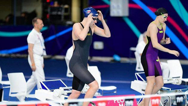 Česká plavkyně, studující v USA a reprezentující Českou republiku na ME v plavání v Glasgow.